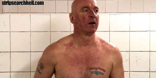 Muscle boy stripping showering